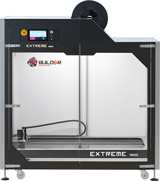 Front view of the Builder Extreme 1500 PRO 3D printer
